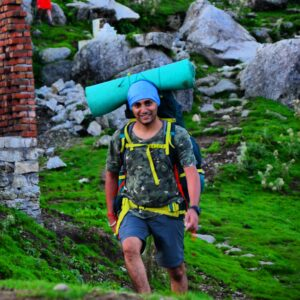 Hiker with hiking gear